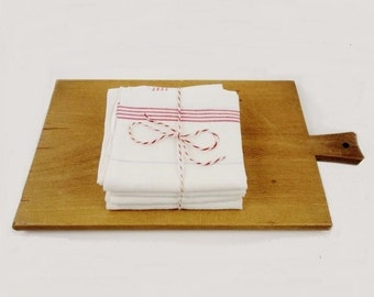 Vintage French White Linen Dish Towel with Red and Grey Spripes