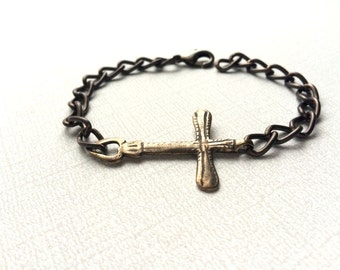 Men's Bracelet - Jesus Bracelet - Chain Bracelet - Vintaj Natural Brass -  Made in USA