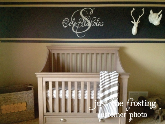 Monogram Name Wall Decal - Boy or Girl Wall Decal - Baby Nursery Wall Decal - Monogram Vinyl Wall Lettering Art Decal (Larger Size)