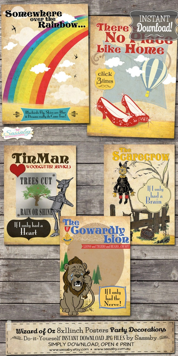 5 Wizard Of Oz Posters Decoration Instant Download By Sassaby