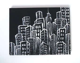 The Big City, original 11 x 14, black and white city skyline painting, night cartoon illustration painting on canvas, free u.s. shipping