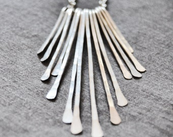 Statement necklace / fringe necklace /  sterling silver 925 hammered jewelry / bib necklace / solid silver / aluminum jewelry