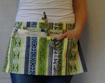 Half Apron/Utility apron with pockets and loop in blue green yellow off-white stripes and print
