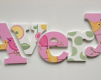 Birds and Flower Themed Wooden Wall Name Letter Art / Hangings, Hand Painted for Girls Rooms, Play Rooms and Nursery Rooms