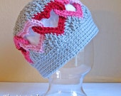 CROCHET PATTERN - Be Mine - a linked heart hat in 8 sizes (Infant, Baby, Toddler, Child, and Adult sizes) - Instant PDF Download