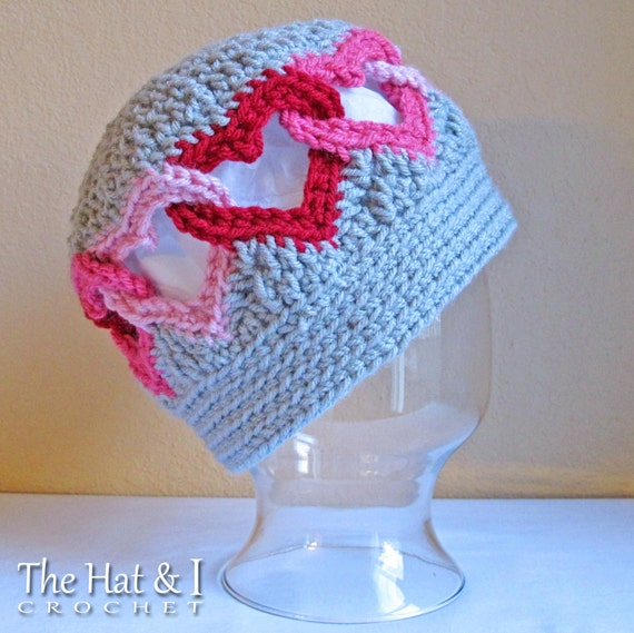 CROCHET PATTERN - Be Mine - crochet heart hat pattern, linked heart hat, crochet hat pattern (Infant - Adult sizes) - Instant PDF Download