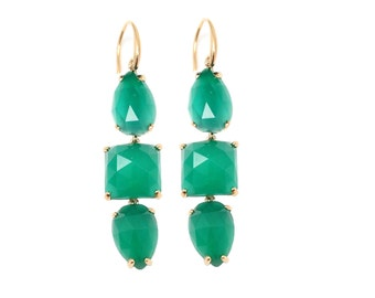 Emerald Onyx Drop Earrings - Dangle Earrings - Green Onyx Drop Earrings