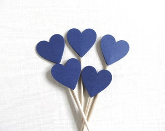 24 Navy Heart Cupcake Toppers, Party Decor, Weddings, Showers, Spring, Summer, Love