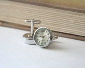 Watch cufflinks Clock Steampunk Tick Tock - made with working clock faces