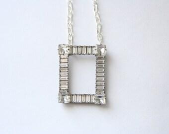 Rhinestone Necklace Vintage Bridal Necklace - made with a vintage brooch