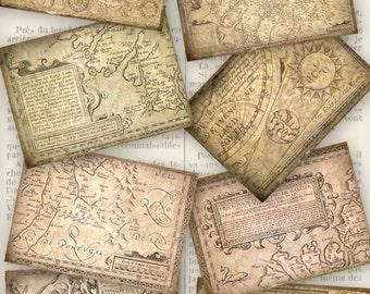 Antique Maps ATC images - 3.5 x 2.5 inch - VD0042