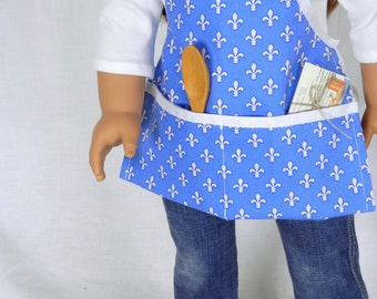 French Bakery Apron in French Blue and White Fleur-de-lis fits 18 Inch Fashion Dolls with Wooden Spoon and Recipe Cards