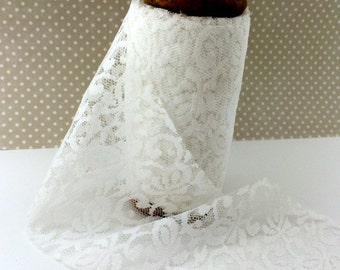 "White Lace  wide Trim  ribbon 4 inch width  x 10 yards on vintage wooden spool - white lace 4"" ribbon trim   AL704-1"