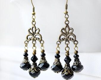 Black dangle earrings, dangle chandelier earrings, drop earrings Black dress vintage victorian baroque boho earrings boho statement  jewelry