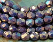Czech Glass Beads, 6mm Faceted, Fire Polished in Luster Opaque Bronzed Smoke -25