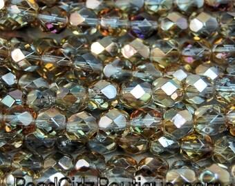 6mm Alexandrite Celsian Crystal Czech Glass Faceted Bead  -25 czech beads