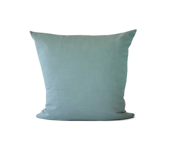 Teal Blue Decorative Pillow Linen Cushion Linen Throw by TMHstyle