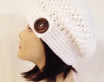 slouch,beanie,hat,cap,decorated slouch,slouch with button,beanie with button,white with large wood button, made to fit teens & adults 21-23""