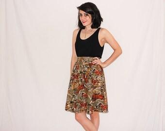Vintage Leaf Print Skirt