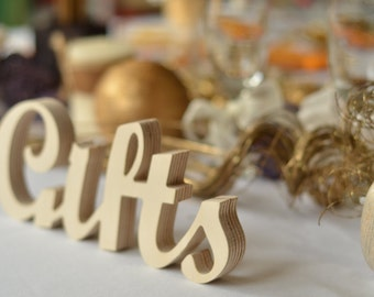 Rustic / Beach Wedding Gifts Sign - standing carved  letters 'Gifts'  for Reception Decorations. Available unpainted, painted or glitter