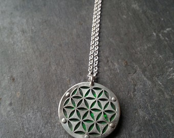 Small Green Flower of Life pendant on chain - Handcrafted Sacred Geometry Jewellery