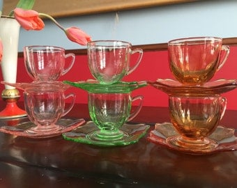 Fancy Square Depression Glass Tea Cups and Saucers Pink, Green and Amber Rose Colors Square Saucers