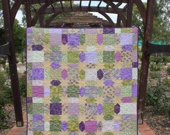 "Handmade Star Quilt, Stars, Mauve, Purple, Green Asian fabrics 65"" x 57"""