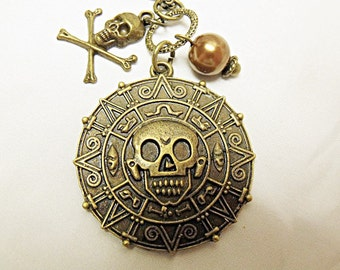Pirates of the Caribbean Necklace Bronze Coin Medallion Skull Aztec Mens Womens Gift  Handmade