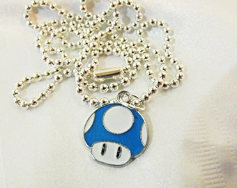 Silver Charm Necklace ,  Mario Brothers ONE UP Charm Blue  Mens Womens Gift  Handmade