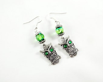 Silver Dangle Earrings,   Owl Earrings With  Emerald Green Eyes And Lampwork Beads  Womens Gift  Handmade