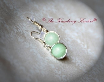 Reiki Healing Jewelry Amazonite Gemstone Drop Dangle Earrings