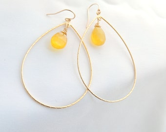 yellow chalcedony earrings, gold filled yellow earrings, long dangle earrings, chandelier gold earrings