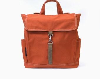 KYLE // Burnt Orange / Lined with Beige / 096 // Ship in 3 days // Backpack / Diaper bag / Shoulder bag / Tote bag / Purse / Gym bag