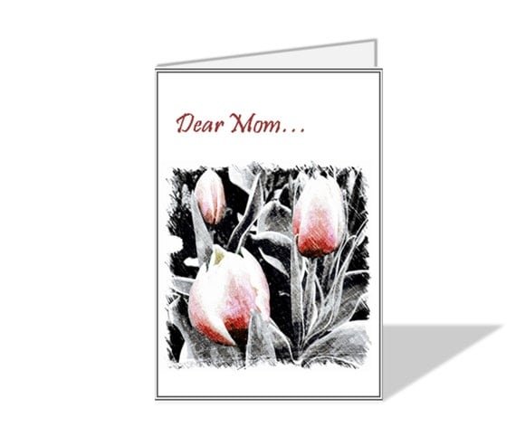 Mother's Day Digital Card With Printable Envelope Template Flower Pencil Drawing Blank to Personalize with your Message Print Your Own