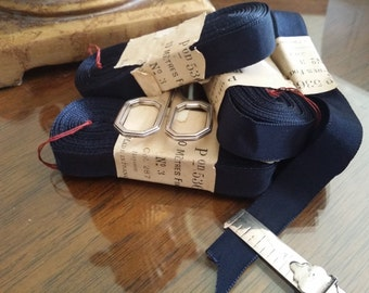 """5/8"""" Vintage French Grosgrain Millinery Ribbon Trim in Perfect Navy Blue"""