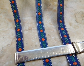 """1/4"""", 3/8"""", 1/2"""" Vintage Vibrant Blue Narrow embroidered ribbon trim, red dots, green arrow, metallic accent # 295"""