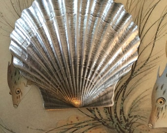 Silver Life-Like Scallop Shell ( 1 pc)