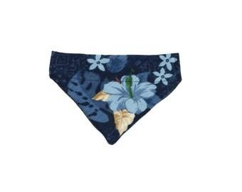 Small Blue Hawaiian Hibiscus Floral Slip On Dog Bandana Over the Collar