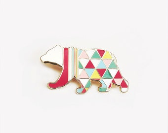 Geometric Bear Brooch  Neon ' Harlequin Bear ' Enamel Pin