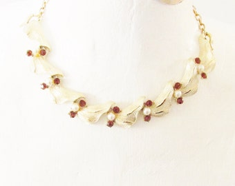 Vintage Coro Rhinestone Pearl Choker Necklace 60s