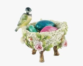 """Vintage Ceramic Chickadee and Rose Encrusted Nest with Four Polished """"Egg"""" Stones"""