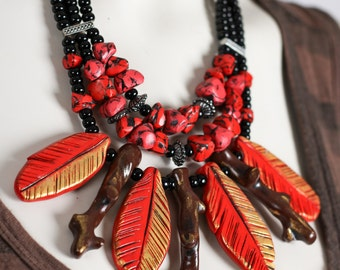 Red Feather Necklace / Red and Gold Statement Necklace / Feather and Stone Necklace / Branch Jewelry