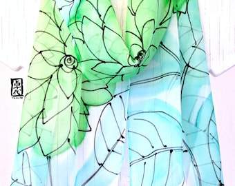 Silk Scarf Hand Painted, Blue and Green Scarf,  Chiffon Scarf, Emerald Green Dreams Scarf, Silk Scarves Takuyo,1 1x60 inches. Made to order.