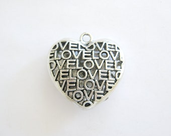 Large Love Heart Pendant-Pewter Heart-Large Heart Charm~Love Pendant-Love Heart-Pewter Hearts~Heart Pendant~Heart Charms