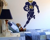 """Silhouette Football Wall Decal with Personalized Name and Number - 43"""" tall x 23"""" long"""
