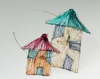 Home Jewelry House brooch pin Unusual jewelry Wire sculpture House jewelry Wearable Art Jewelry New Home gift Colorful jewelry New baby gift