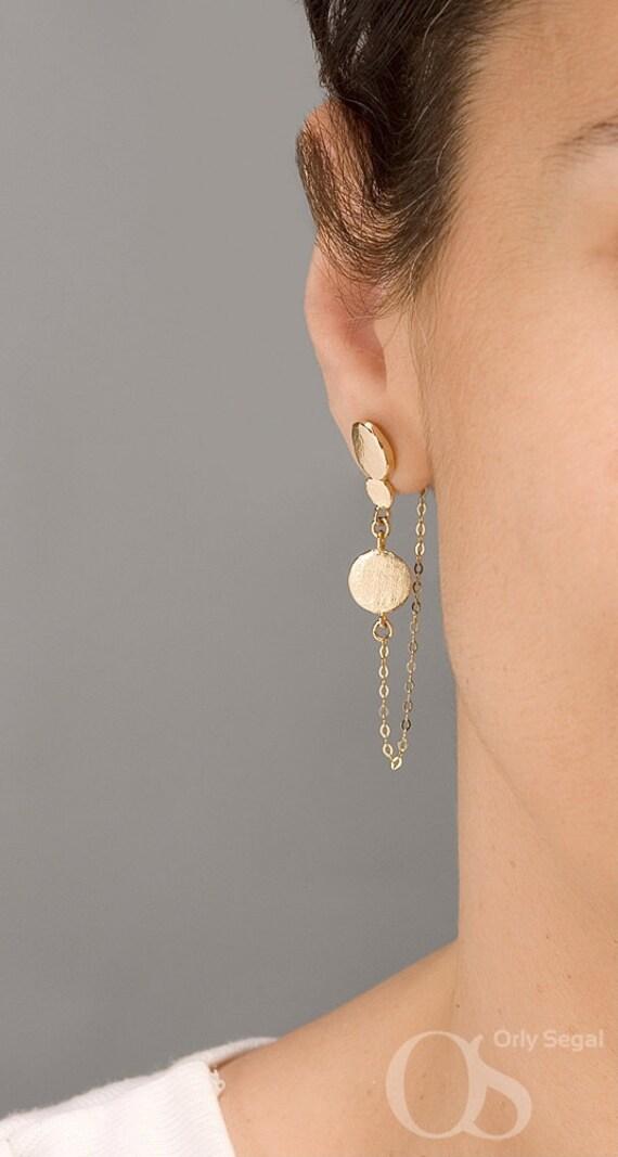 Unique Gold Earrings, unique gold stud earrings, gold minimalist earrings, coin earrings, post earrings, gold stud earrings, dangle