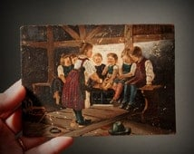 Small painting Germany, school children painting, Antique painting