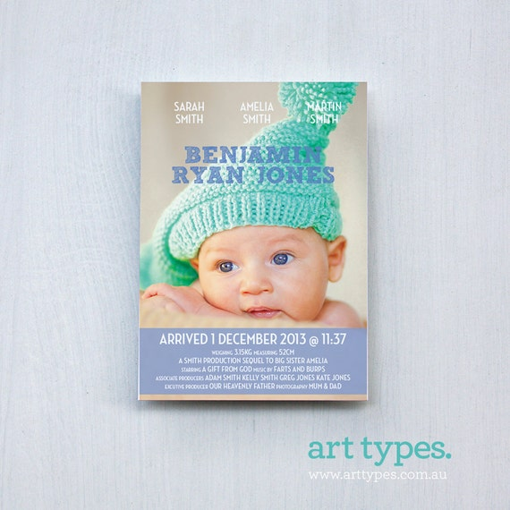 Movie poster Baby Boy Birth Announcement Printable 5x7 by ...