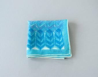 Vintage Vera Scarf - Turquoise Blue Feathers
